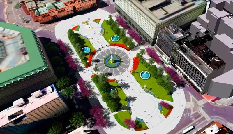 Plaza de Mayo após ampliação e novos espaços verdes