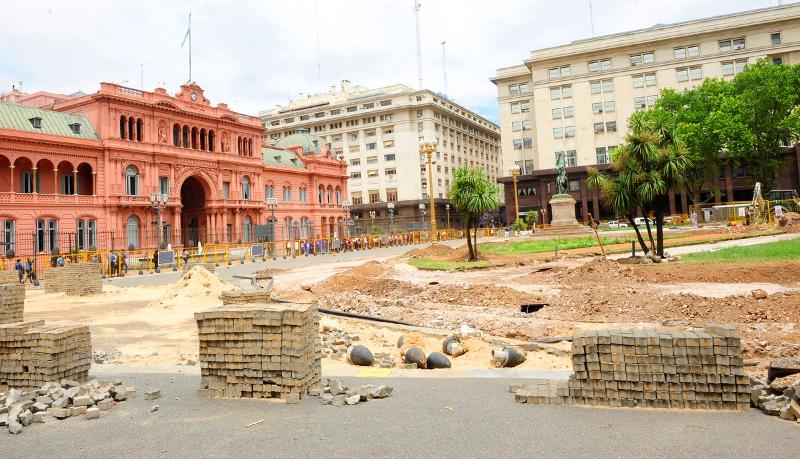 Plaza de Mayo - obras de ampliação e novos espaços verdes