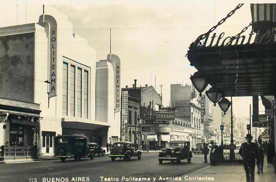 Cartão Postal antigo do Teatro Politeama e Avenida Corrientes